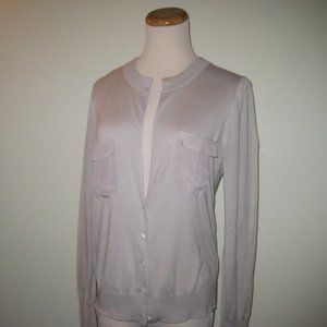 J. Crew Gray Silk and Cotton Blend Blouse Sz: M
